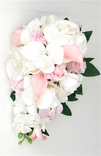 Real Touch Pink Cascade Mix Bouquet - Roses, Callas and Orchids - Blush or Pink Silk Wedding Bouquet