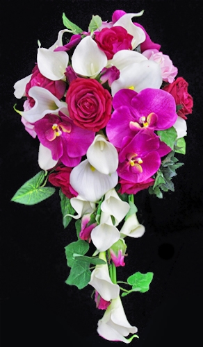 Natural Touch Pink Roses & Callas Cascading Bouquet