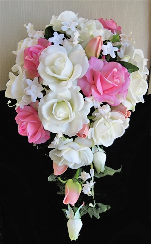 Natural Touch Pink Amp Off White Rosess Cascading Bouquet
