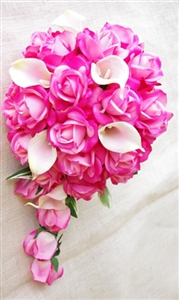 Natural Touch Fuchsia Pink Roses & Callas Cascading Bouquet