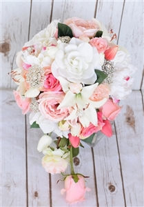 Natural Touch Pink Roses & Peonies Cascading Bouquet