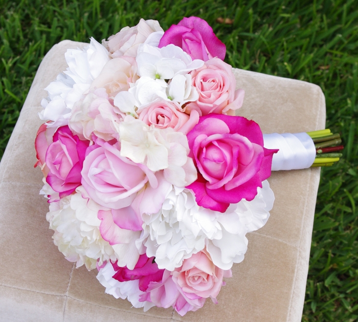 Natural Touch Pink Natural Touch Roses Amp Off White Hydrangeas Bouquet