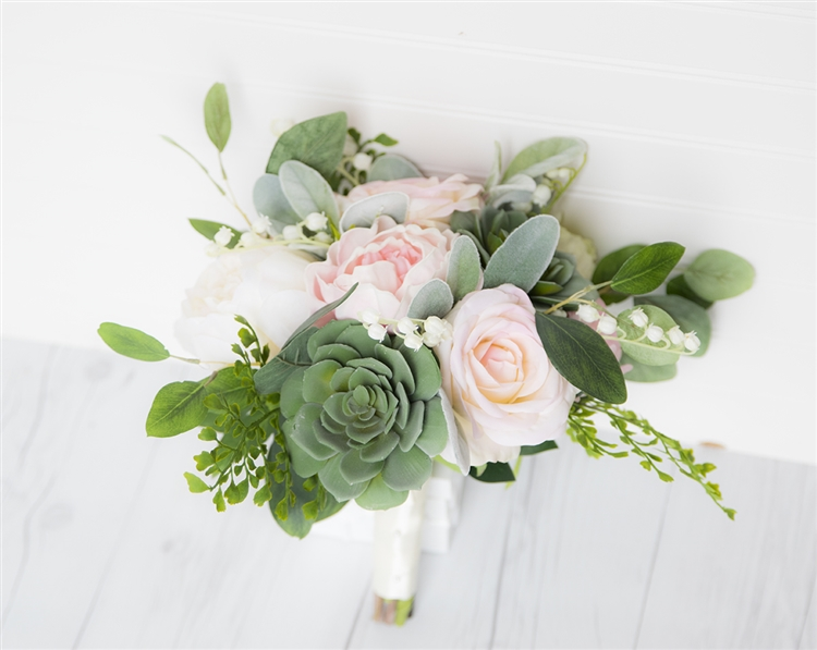 Softest Blush Pink Peonies Roses And Succulents Wedding Real Touch Silk Bouquet