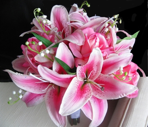 natural touch pink stargazer lily bouquet, Beautiful flower