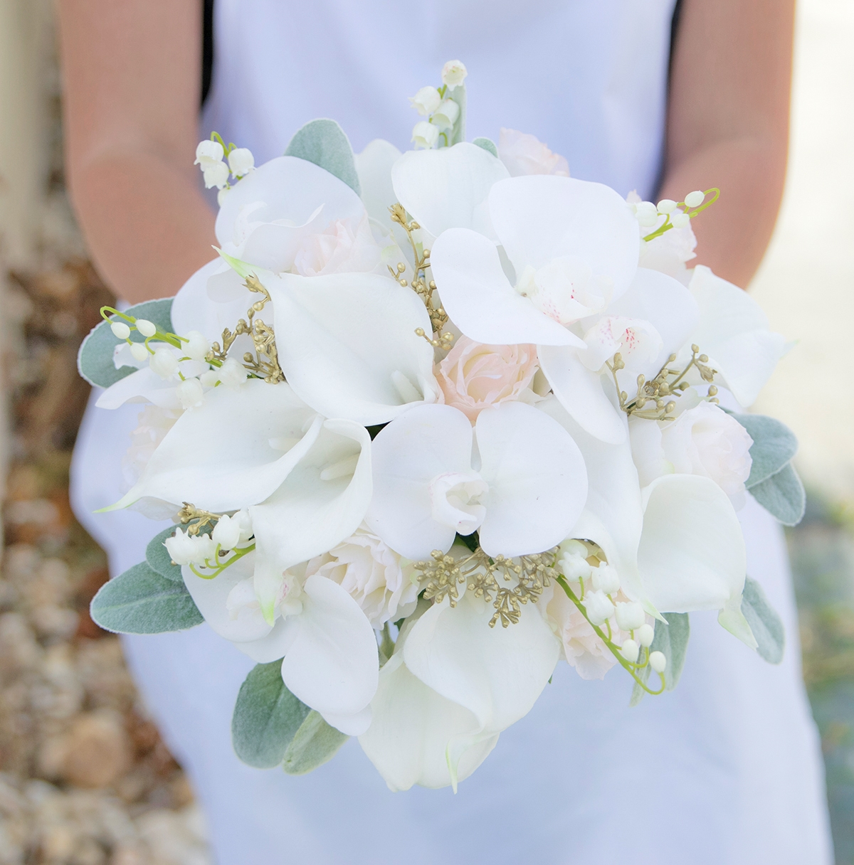 calla lilies Pink Bride bouquet silk wedding flowers roses Bridal whiteoffwhiteivory blush Real Touch flowers
