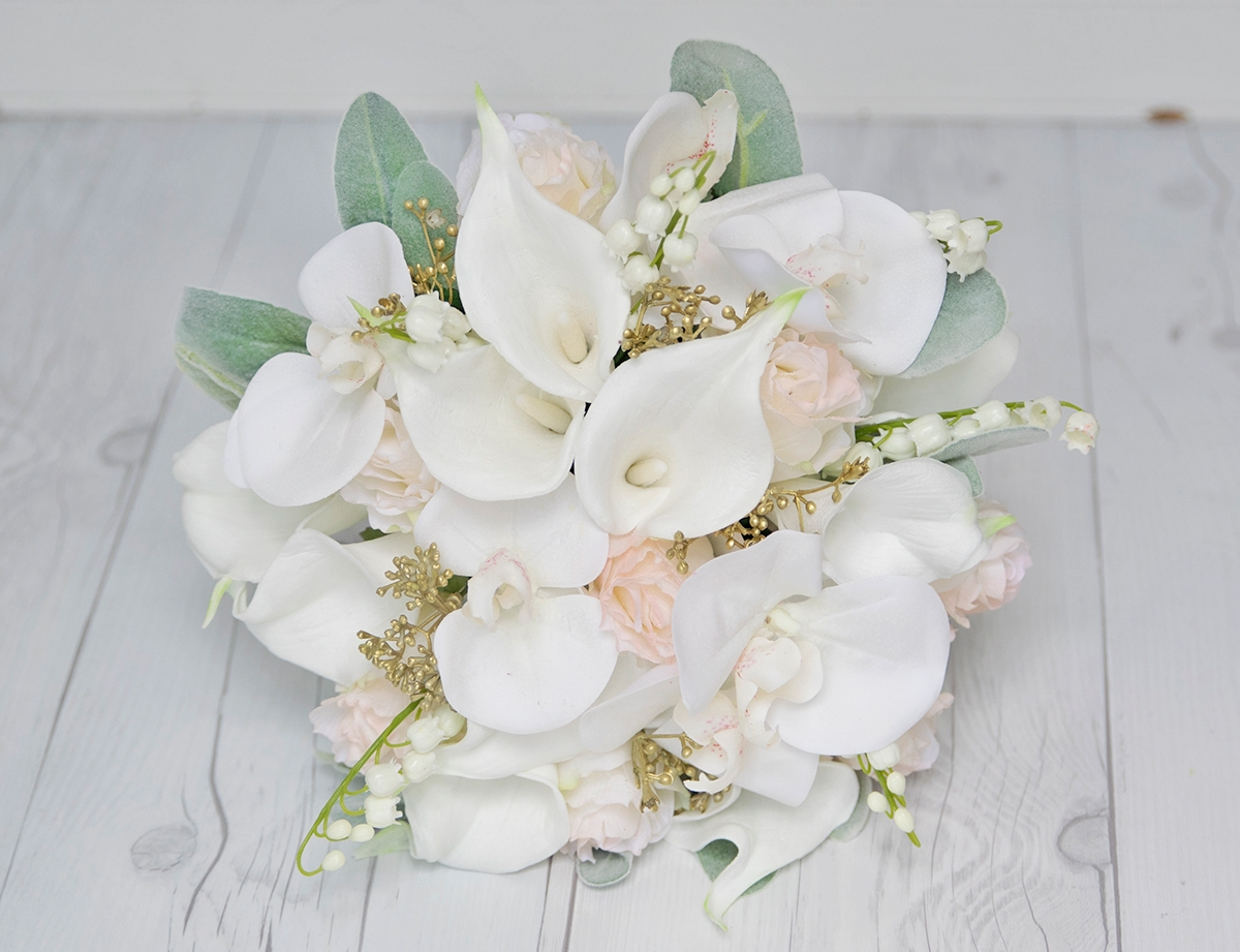 Off White & Blush Calla Lily and Roses Bouquet - Gold Details - Real ...