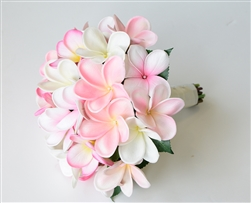 Tropical Bouquet of Blush Pink and Off White Natural Touch Plumerias