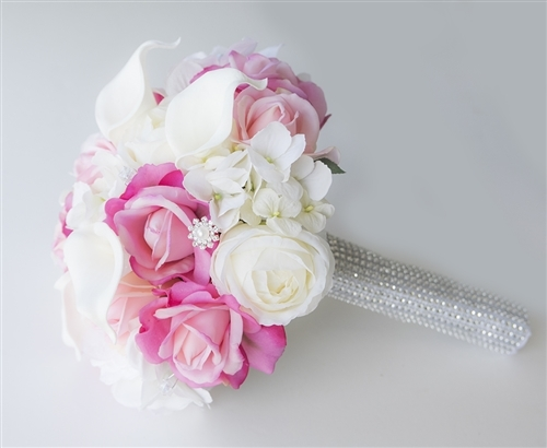 Real Touch Off White and Hot Pink Peonies, Hydrangeas and Callas ...