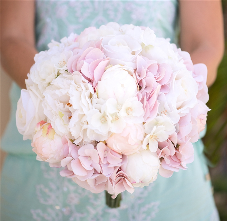 Blush Pink Hydrangeas Peonies And Roses Bouquet Bundle Silk