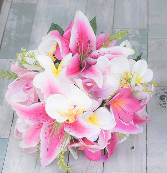 Real touch fuchsia hot pink stargazer orchids and plumerias bouquet alternative views mightylinksfo