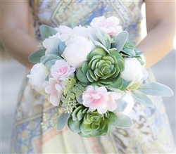 Succulents, Peonies and Pink Cherry Blossoms Natural Touch Wedding Bouquet