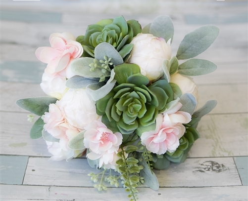Succulents Peonies And Pink Cherry Blossoms Natural Touch Wedding