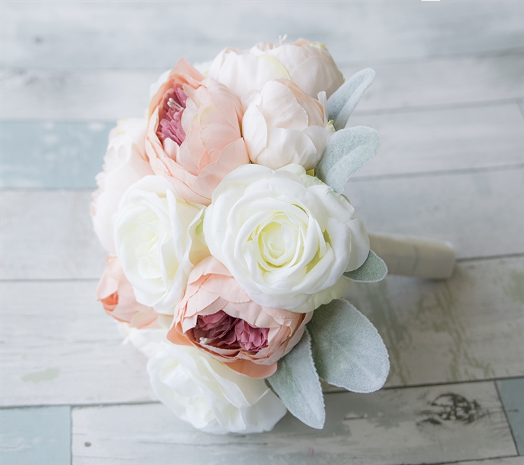 Off white roses and antique pink blush peonies silk wedding bouquet mightylinksfo