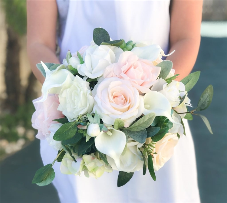 CHIRA White soft peach blush greenery bridal flower bouquet  Wild boho floral wedding bunch for bride with preserved eucalyptus