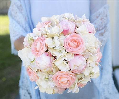 Blush Pink Roses, Peonies and Hydrangeas Mix Silk Real Touch Wedding Bouquet