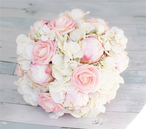 Blush Pink Roses Peonies And Hydrangeas Mix Silk Real Touch Wedding
