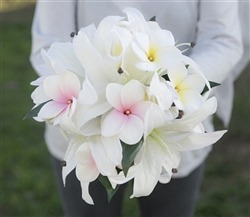 Real Touch Off White and Blush Pink Casablanca Lilies and Plumerias Bouquet