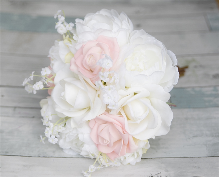 Off White & Blush Pink Roses and Peonies Silk Wedding Bouquet ...