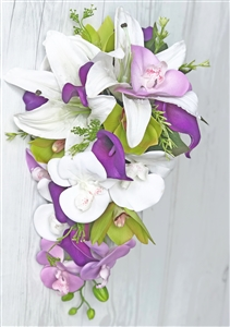 Natural Touch Off White Lilies and Purple Callas and Green Orchids Cascade Bouquet