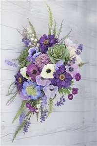 Real Touch Purple Plum Boho Rustic Bouquet - Succulents, Peonies, Anemone Silk Cascade Bouquet