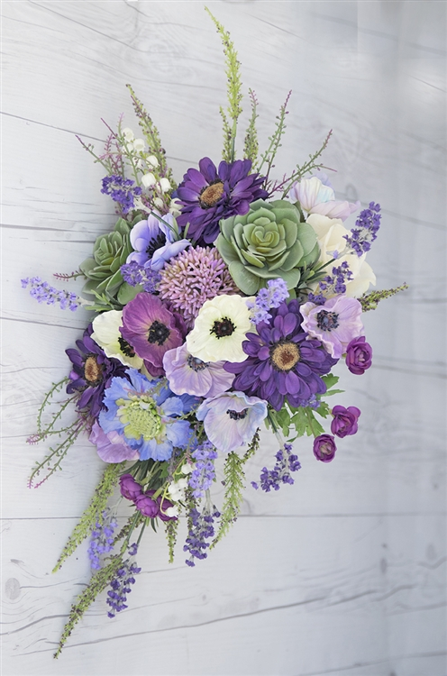 Real Touch Purple Plum Boho Rustic Bouquet Succulents