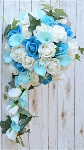 Real Touch Turquoise Roses, Aqua Aruba Callas and Off White Roses Silk Cascade Bouquet