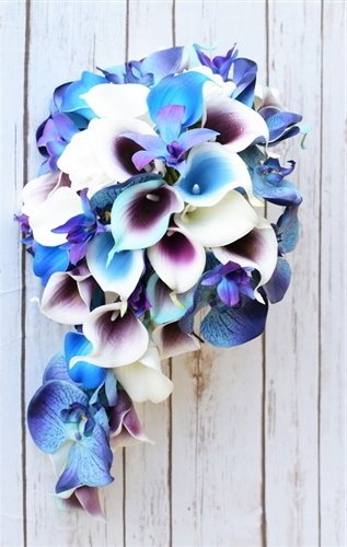 Natural Touch Purple Teal Orchids and Callas Cascading Bouquet