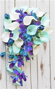 Natural Touch Aqua Tiffany, Purple and Blue Orchids and Callas Silk Cascading Bouquet