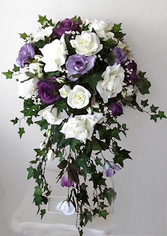 Lavender white or ivory roses cascading bouquet alternative views mightylinksfo