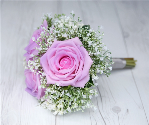 Beautiful Delicate Bouquet made with Baby's Breath and Lilac Natural Touch Roses. Purple Lilac Mix.