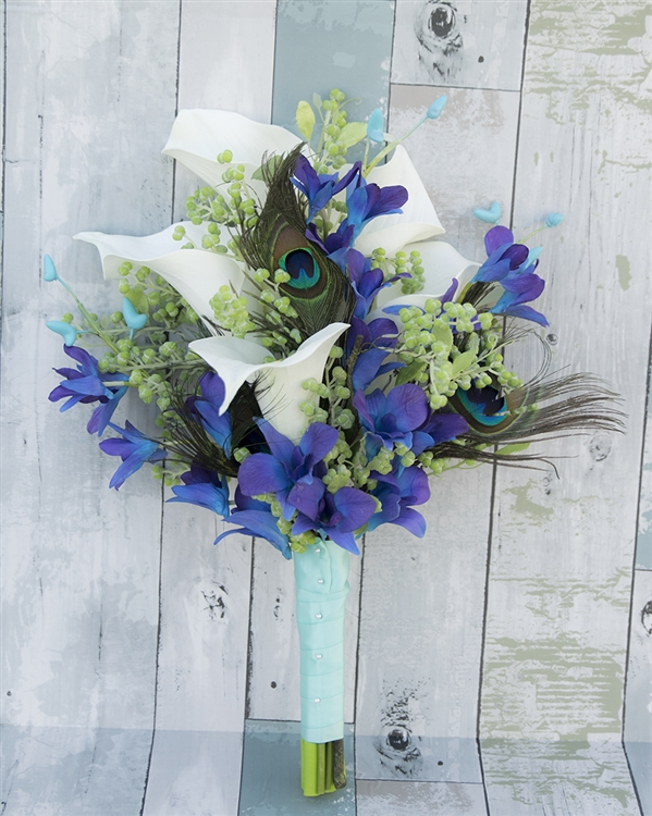 Feathers, Callas and Purple Blue Orchids Real Touch Silk Wedding ...
