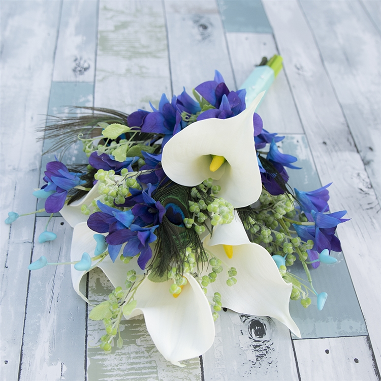 Pea Feathers Callas And Purple Blue Orchids Real Touch Silk Wedding Bouquet