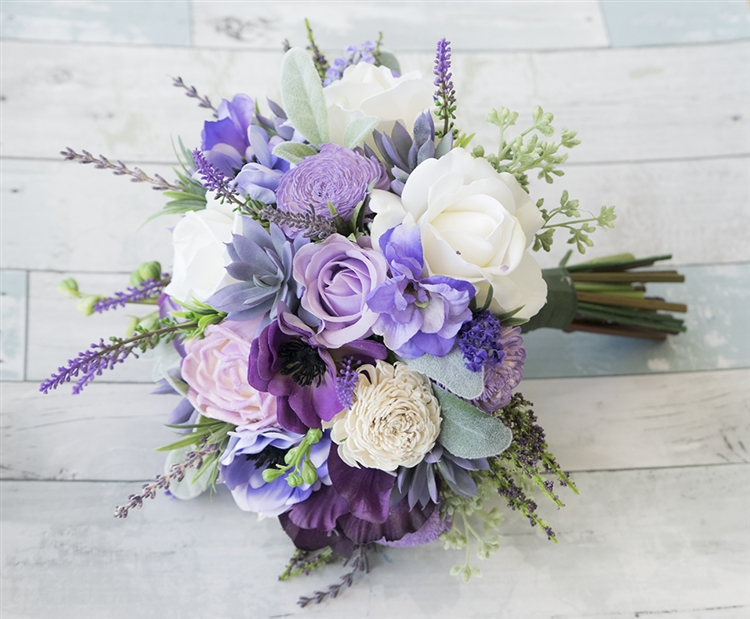 Natural Touch Purple Lilac Succulent Sprays Bouquet. A Freshly ...
