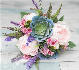 "Garden ""Fresh"" Style Bouquet - Real Touch Succulents, Peonies and Wild Filler Lavender and Pink Sprays"