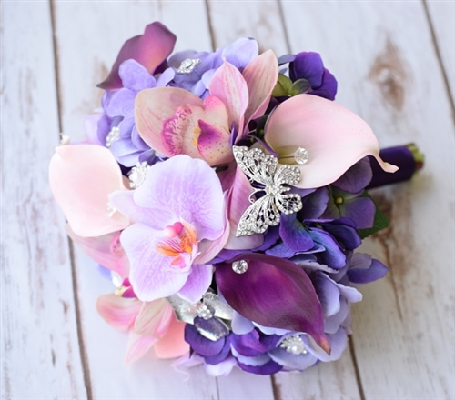 Natural Touch & Silk Bouquet of Lilac Lavender Hydrangeas, Callas and Orchids