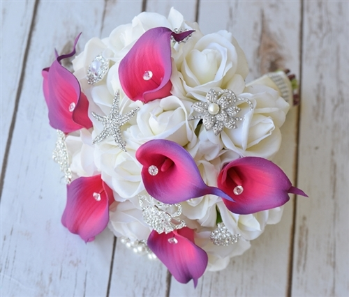 Purple Fuchsia  Natural Touch Callas and Jewels Bouquet