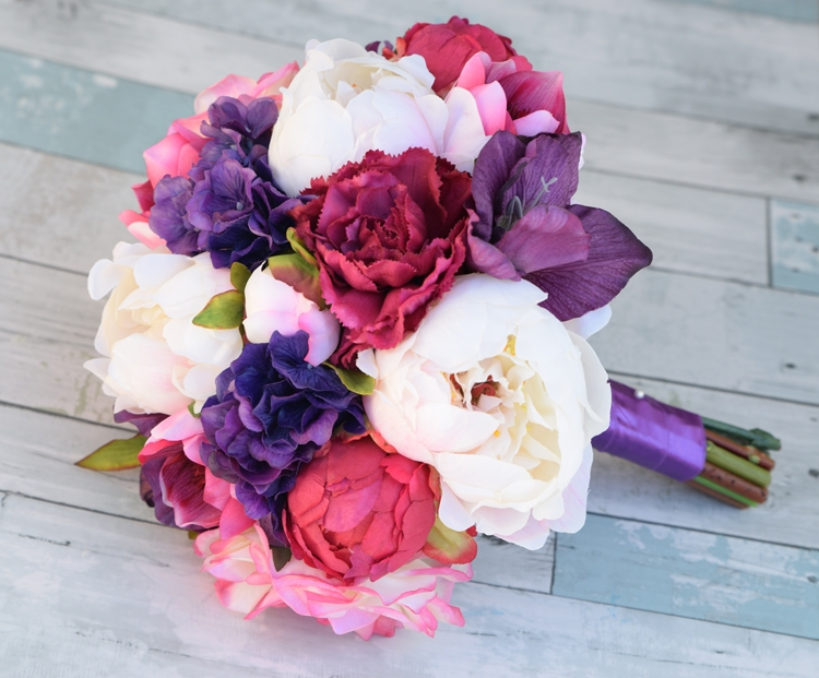natural touch purple roses peonies bouquet - Garden Rose And Peony Bouquet
