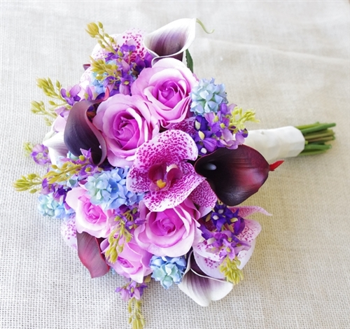Purple Lilac And Blue Callas Orchids Roses Bouquet
