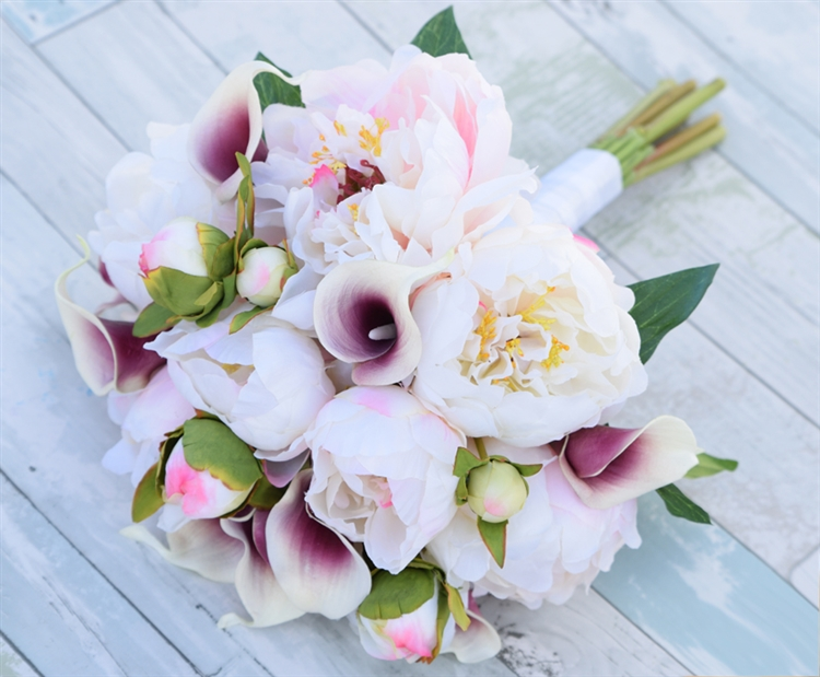 Silk blush pink and purple peonies and callas wedding bouquet mightylinksfo