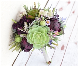 Plum and Green Fall Wedding Rustic Bouquet with Peonies and Succulents