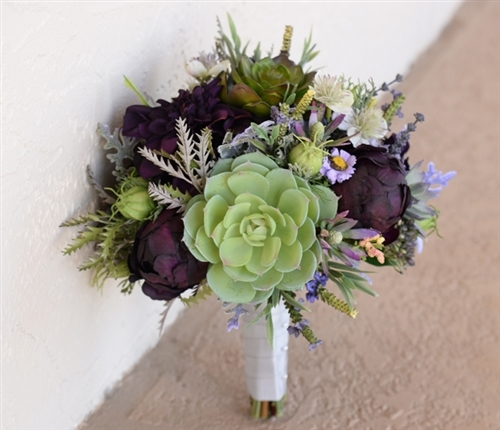 Plum Eggplant Fall Wedding Rustic Bouquet With Peonies