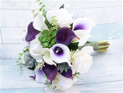 Real Touch Purple Heart Callas, Roses and Succulents Silk Wedding Bouquet