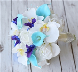 Natural Touch Blue Purple Roses & Mokara Orchids Bouquet