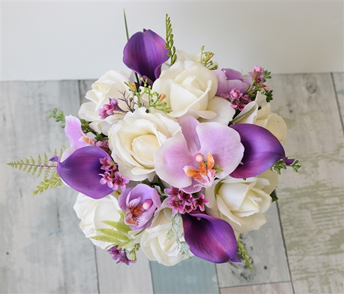 Natural Touch Bouquet of Purple Callas & Orchids and Off White Roses
