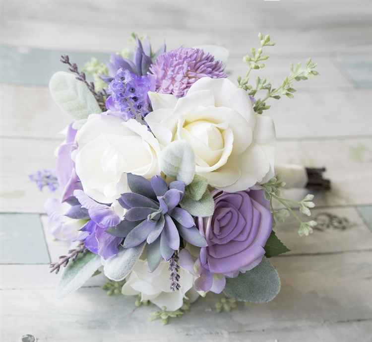 Dream Lilac Lavender Succulent and Roses Real Touch Flowers Bouquet ...