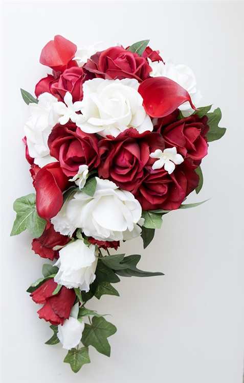 Natural Touch Off White And Red Callas Roses Silk Wedding Bouquet