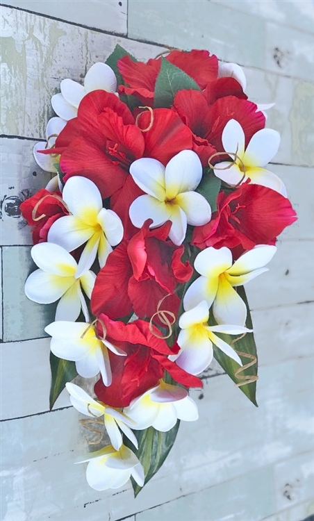 Red Real Touch Hibiscus Gladiolus Plumerias Silk Tropical Bouquet