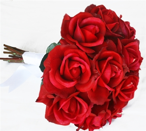 Round Real Touch RED Open Roses Bouquet - Top Quality Silk Wedding Flowers