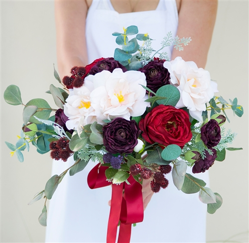 Boho Rustic Wild Sprays Silk Wedding Bouquet made with Burgundy Ranunculus, Blush Roses and Raspberries