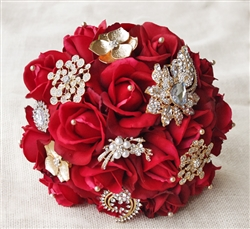 Natural Touch Red Roses & Gold Brooch Jewels